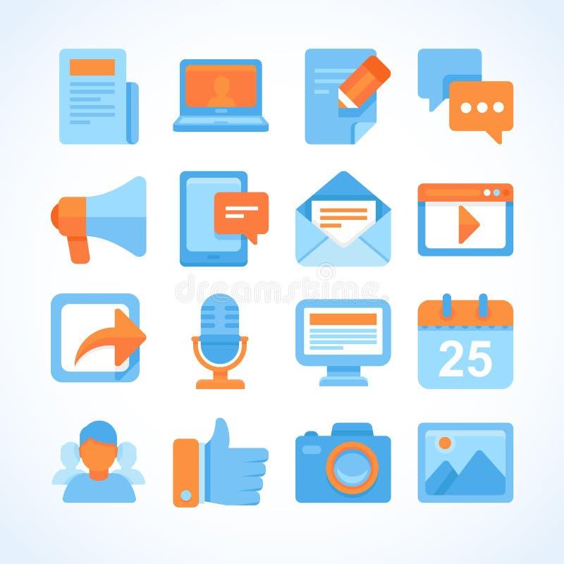 Flat icon set of blogging symbols stock illustration