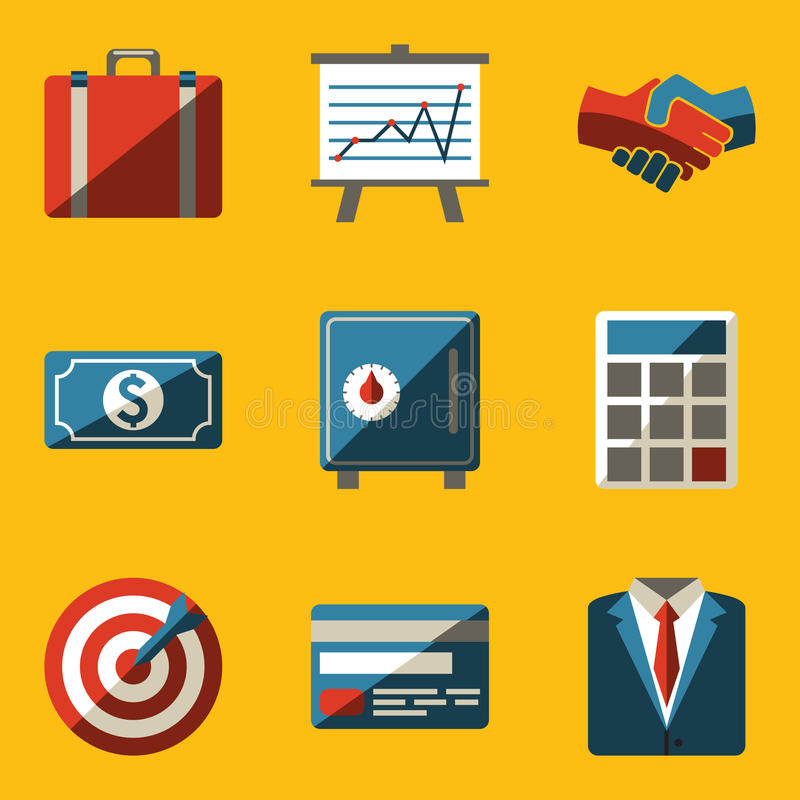 Flat icon set. Business vector illustration