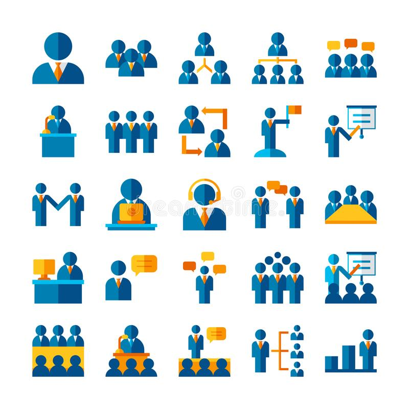 Flat icon set business worker, social network teamwork strategy concept royalty free illustration