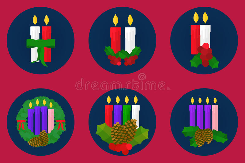 Flat icon set, Christmas candles design stock photo