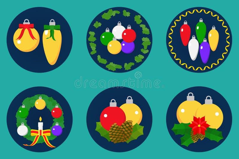 Flat icon set, christmas spheres design royalty free stock photography
