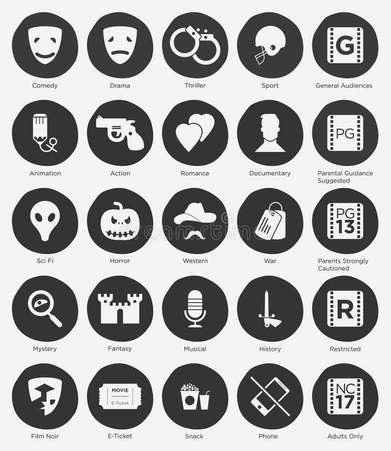 Flat Icon Set of Film Genres and Rating System royalty free illustration