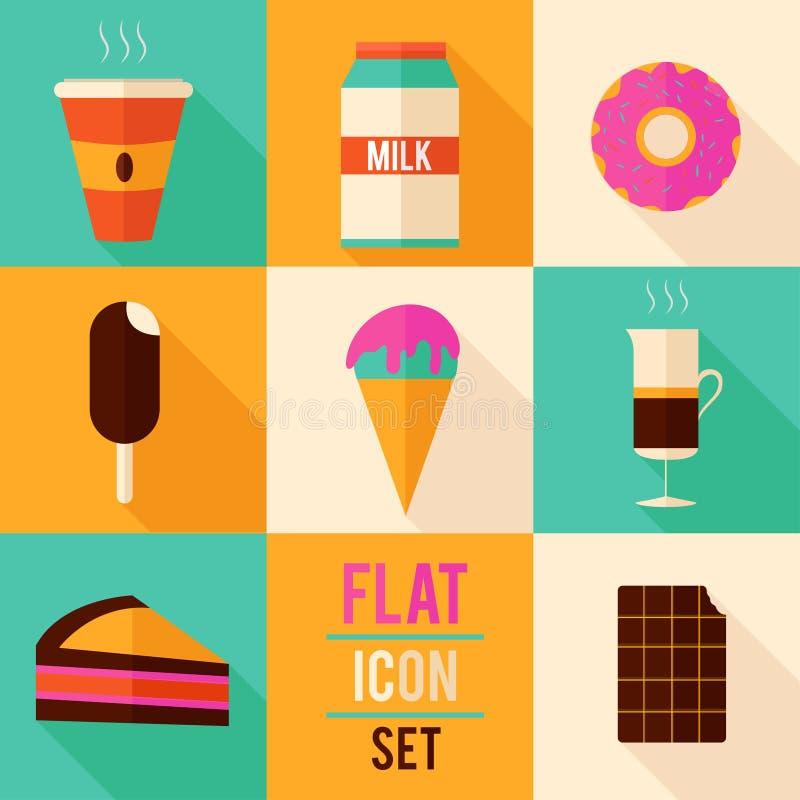 Flat icon set. ( 8 icons vector illustration