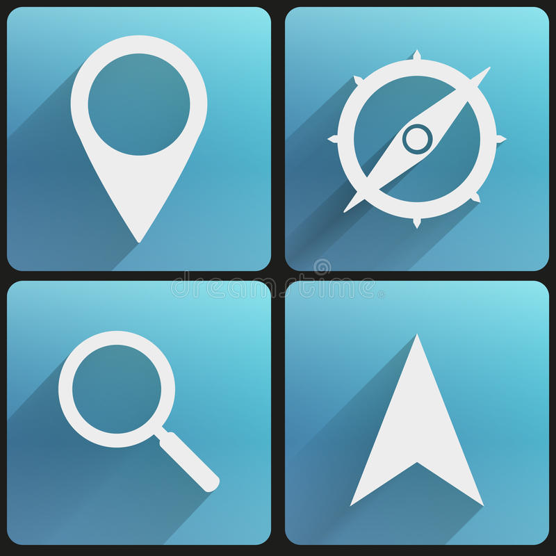Flat icon set map marker for Web and Application. royalty free illustration