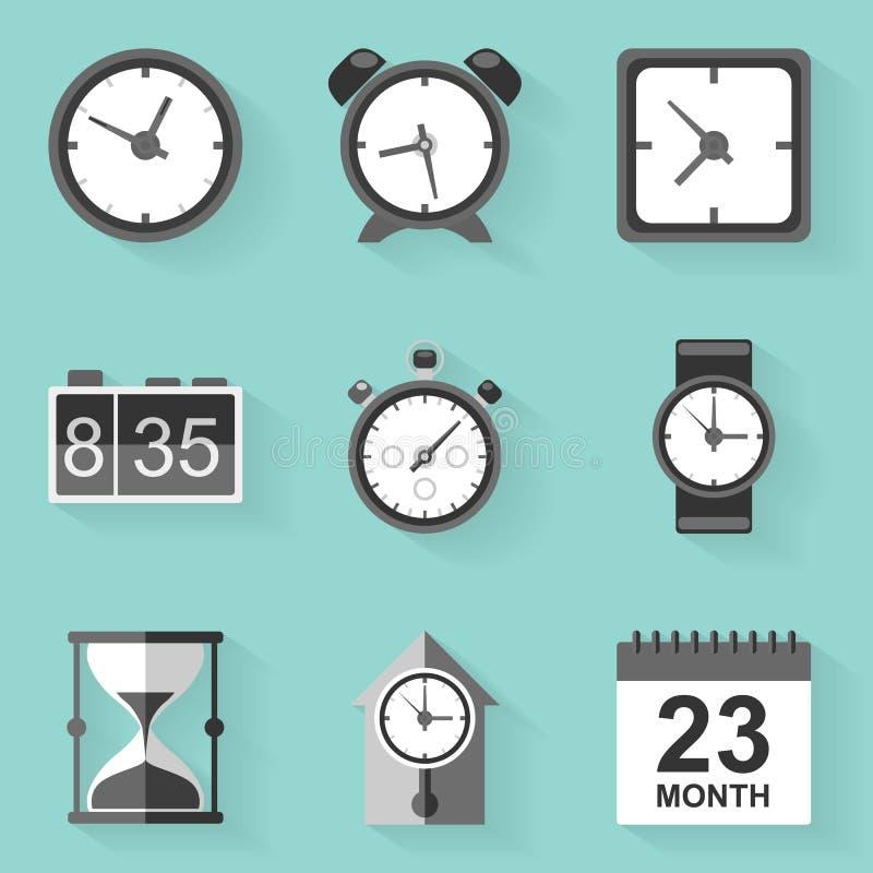 Flat icon set. Time. Clock. White style vector illustration