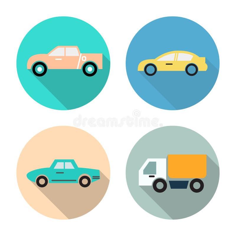 Flat icon set for transportation,car,truck,pickup truck,vintage car in circle background,vector illustrations stock illustration