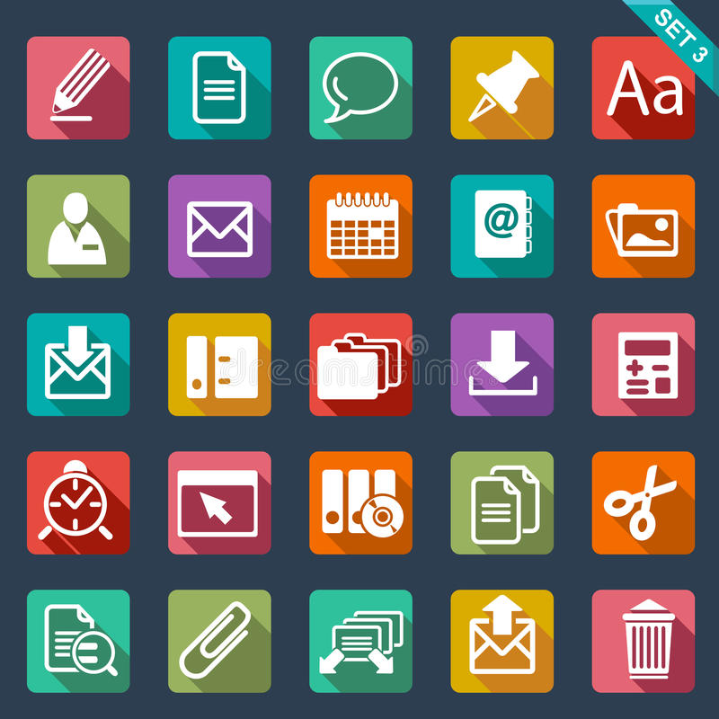 Flat icon set. Web icon set - flat design vector illustration