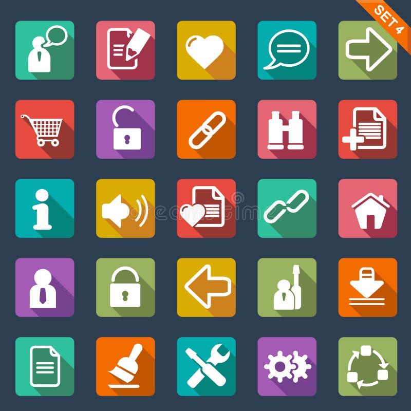 Flat icon set. Web icon set - flat design stock illustration