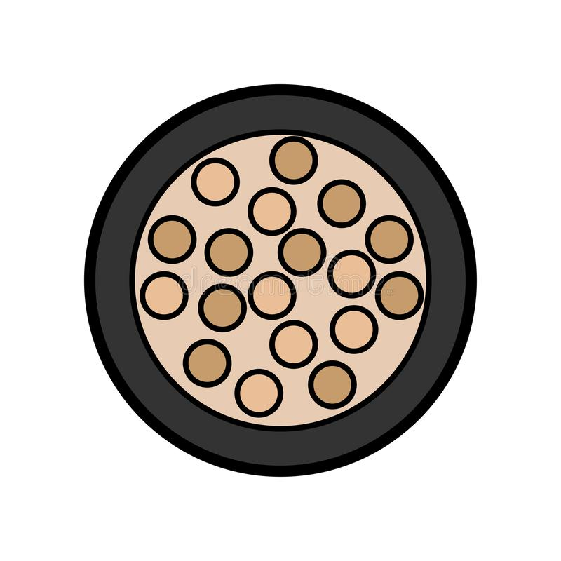 Flat icon is a simple glamorous little round powder box with eyeshadow and eyelid balls for applying make-up to restore royalty free illustration