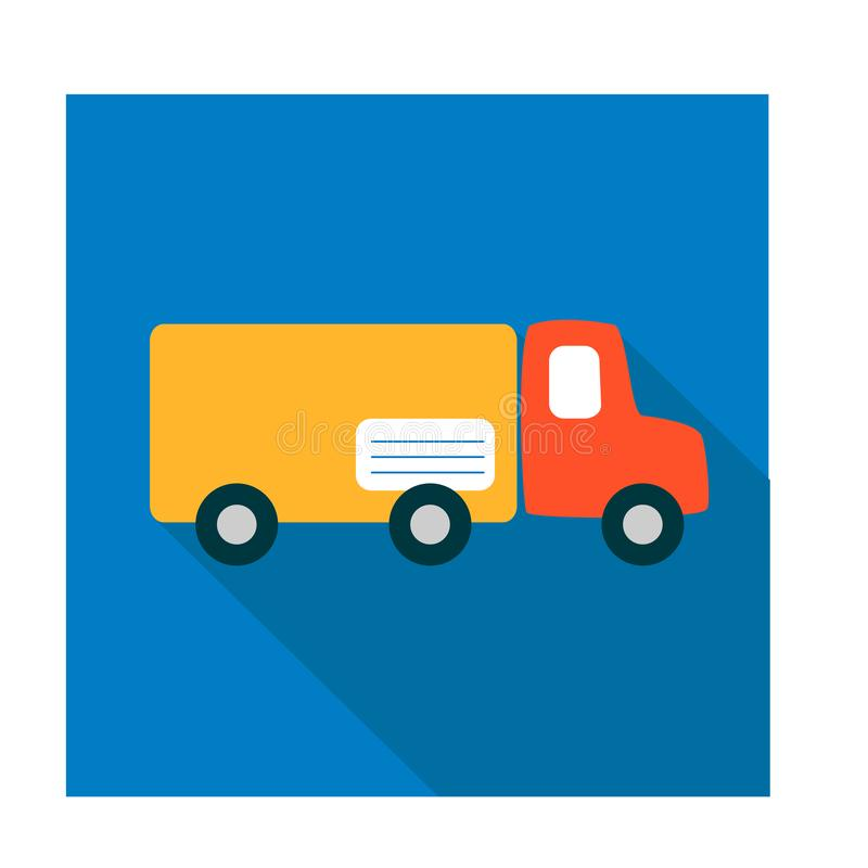 Flat icon in simple style. Mail truck delivers post. A red cab and a yellow body as parcel with tag recipient on a blue. Background vector illustration