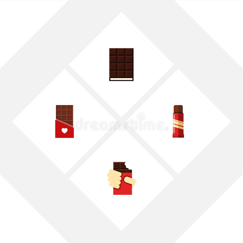 Flat Icon Sweet Set Of Sweet, Shaped Box, Dessert And Other Vector Objects. Also Includes Dessert, Confection, Chocolate Elements. vector illustration
