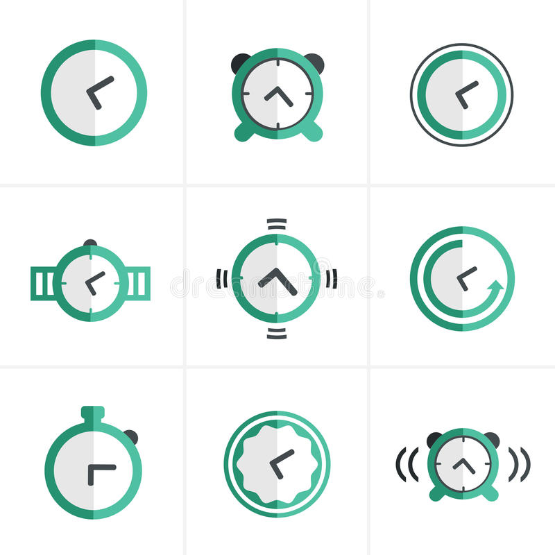 Flat icon Time Clock Icons Set, Vector Design vector illustration