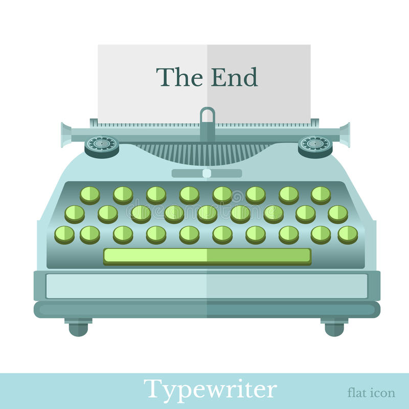 Flat icon typewriter with the end on paper on white stock illustration