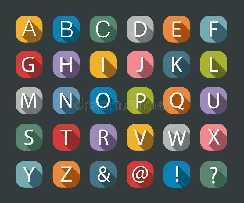 Flat icons alphabet royalty free stock photos