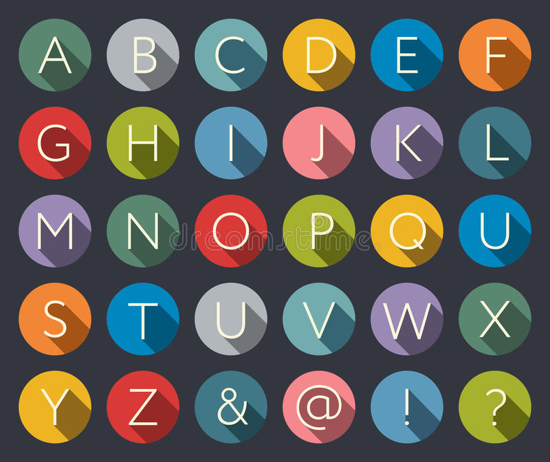 Flat icons alphabet. A-Z Flat Icons Alphabet Letter Set with long shadow