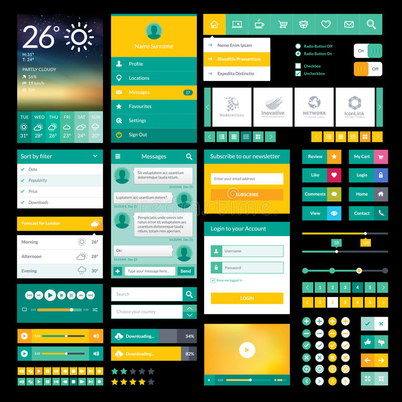 Free Flat Icons And Elements For Mobile App And Web Des Stock Photo - 35144130