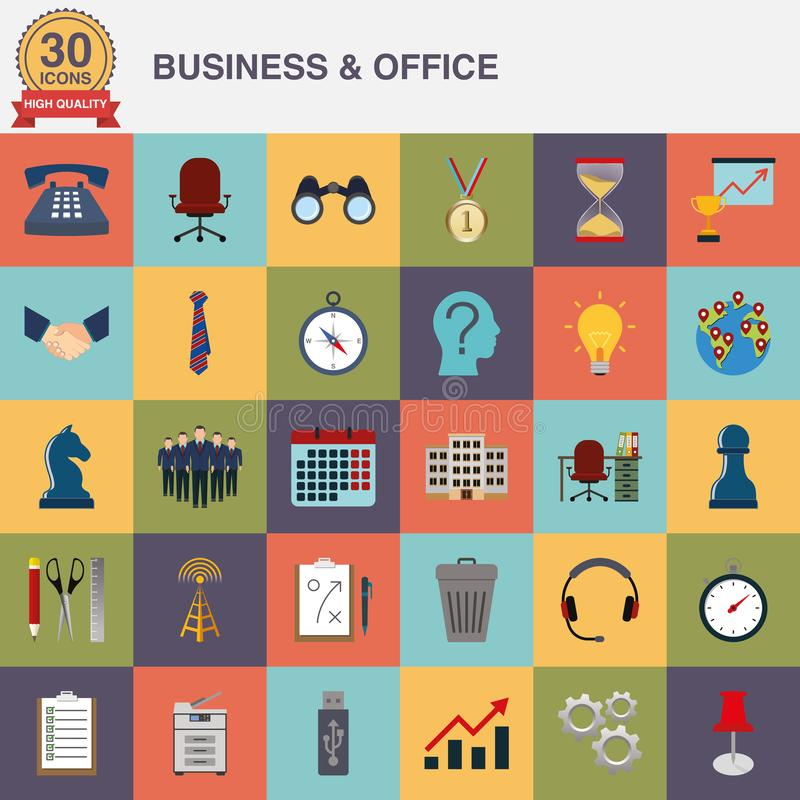 Flat icons for business and office royalty free illustration