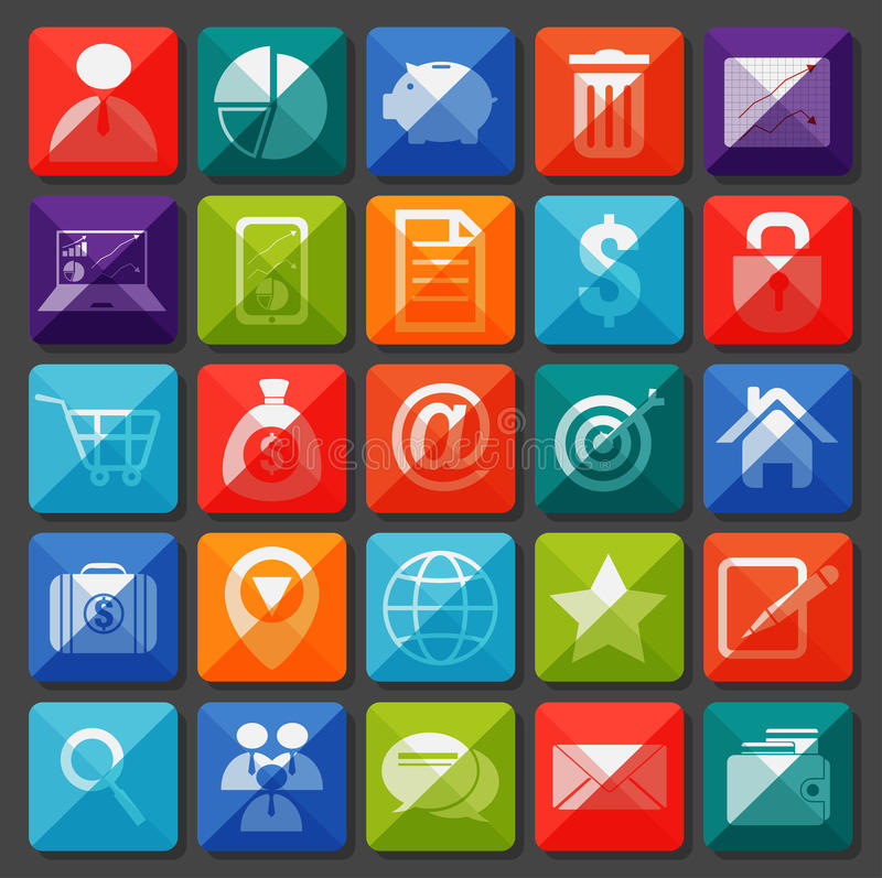 Flat icons collection. Business item stock illustration