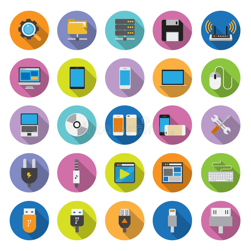 Download Flat Icons Collection With Long Shadow Stock Vector - Illustration of document, media: 39501393
