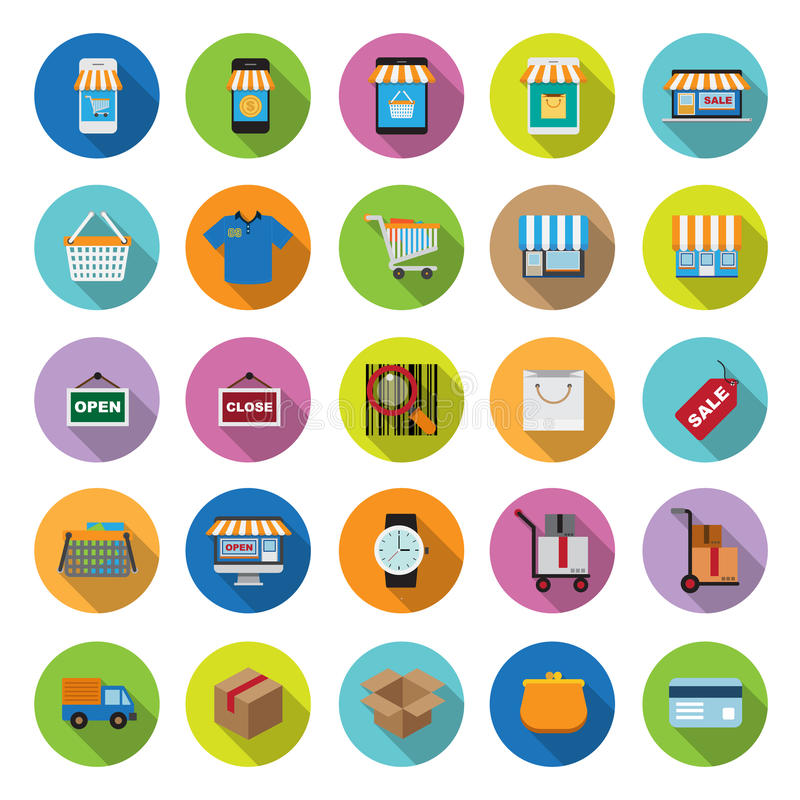 Download Flat Icons Collection With Long Shadow Stock Vector - Illustration of gadget, graphic: 39501370