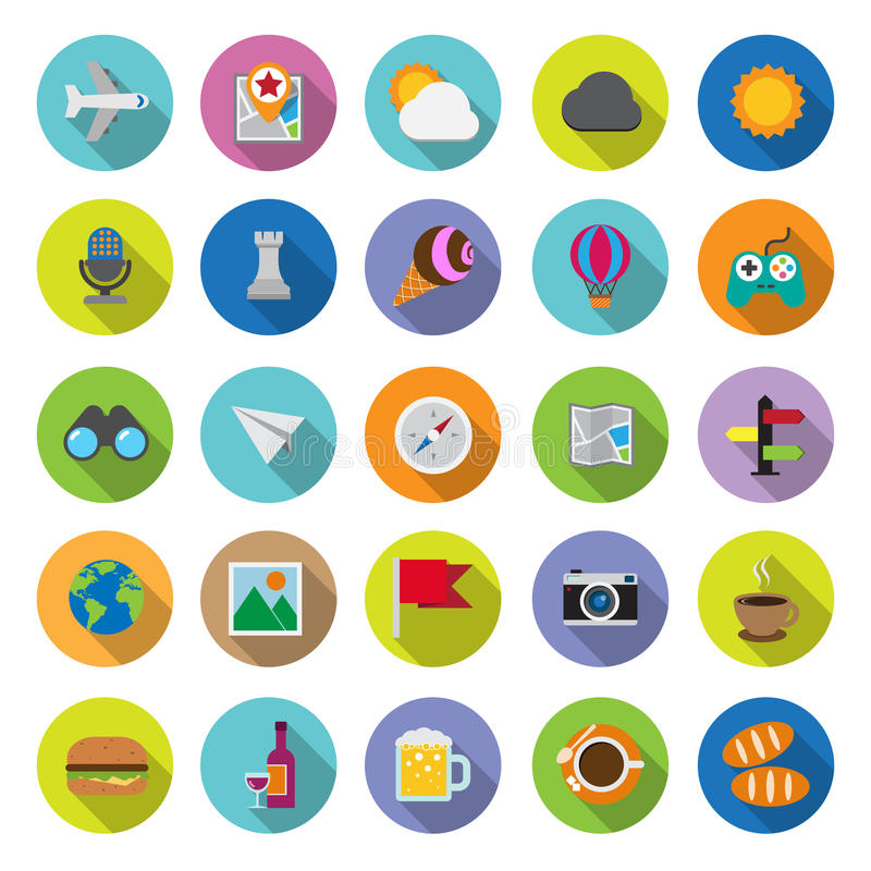 Download Flat Icons Collection With Long Shadow Stock Vector - Illustration of design, flag: 39501383