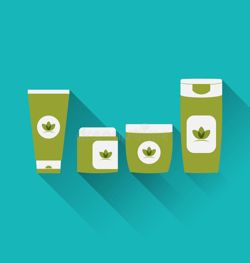 Flat icons of cosmetics containers with long shadow vector illustration
