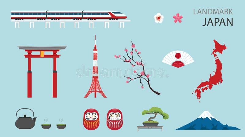 Flat Icons Design Landmark Japan. royalty free illustration
