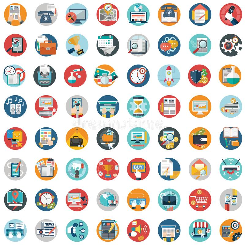 Flat icons design modern vector illustration big set of various financial service items, web and technology development, business. Management symbol, marketing royalty free stock photos