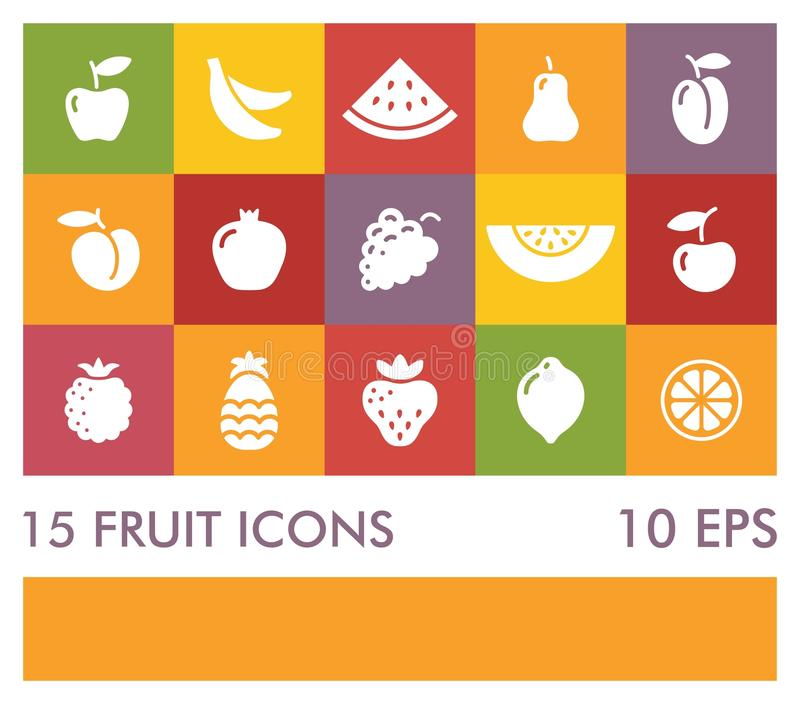 Flat icons of different fruits vector illustration