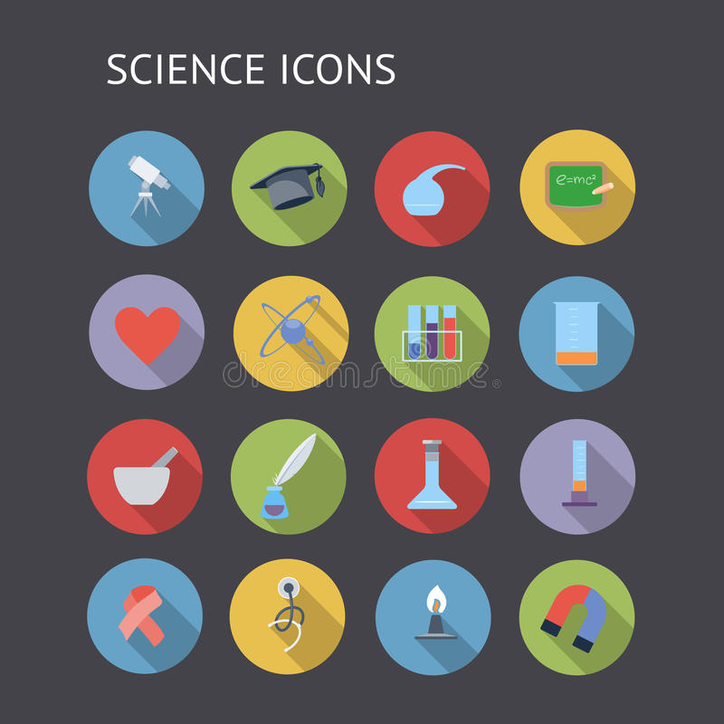Download Flat Icons For Education And Science Stock Vector - Image: 38731441