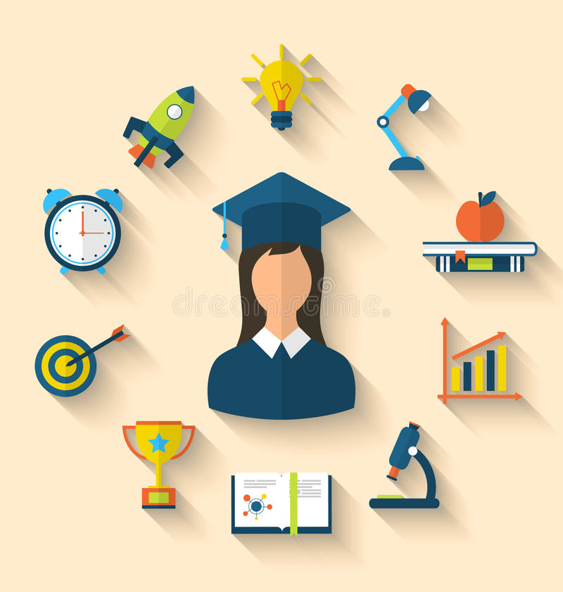 Flat icons of graduation and objects for high school and college stock illustration