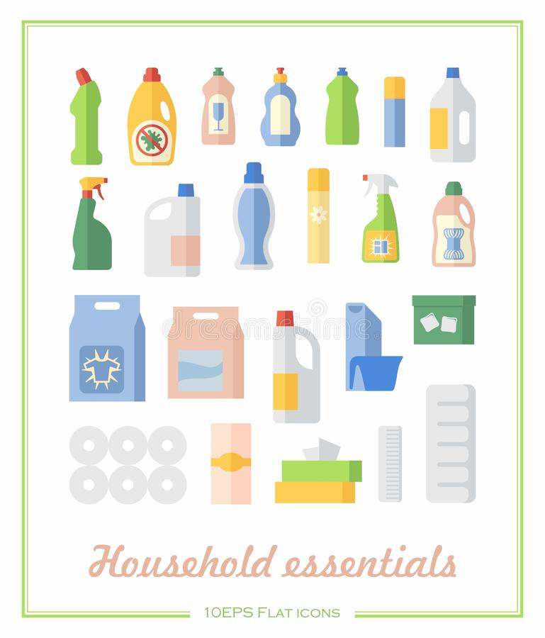 Flat icons household chemicals and paper products royalty free illustration