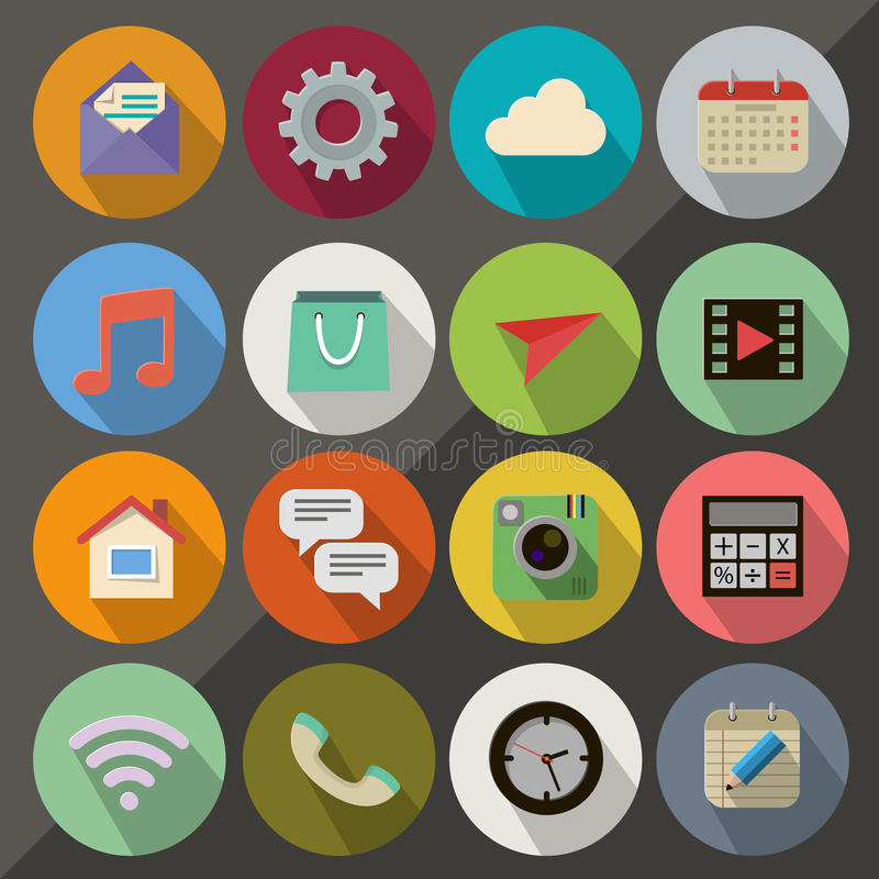 Flat Icons. Flat icon set for Web and Mobile App vector illustration