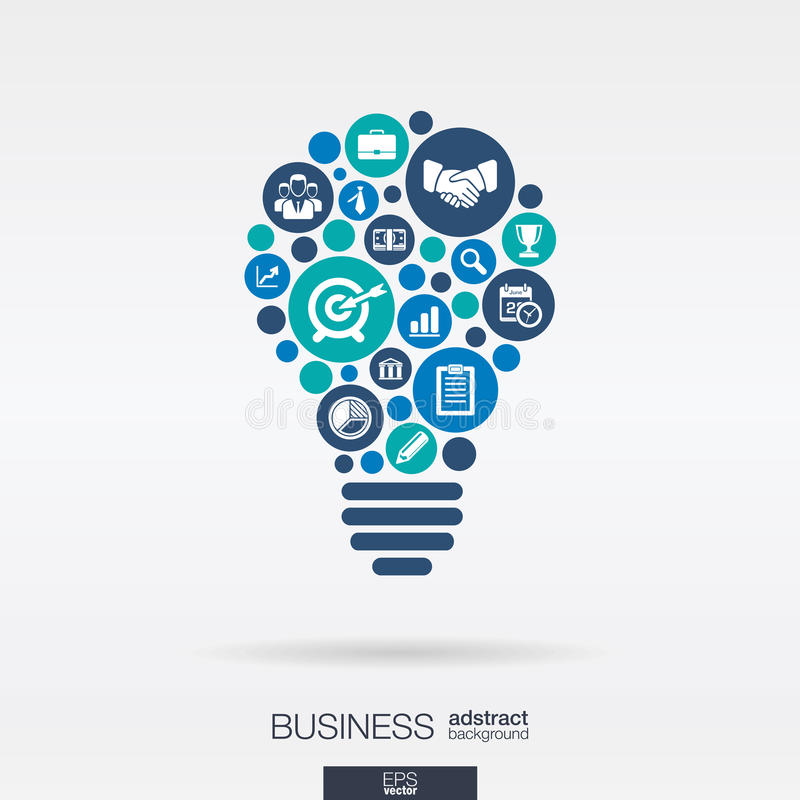 Flat icons in a idea bulb shape, business, marketing research, strategy, analytics concepts. royalty free illustration