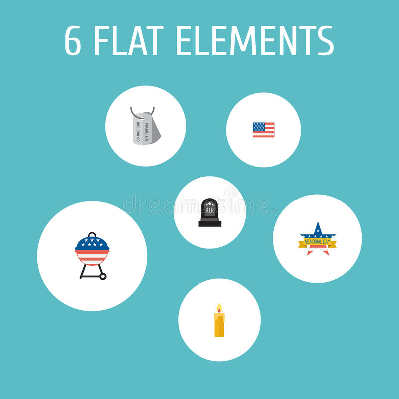 Flat Icons Identity, American Banner, Tomb And Other Vector Elements. Set Of Memorial Flat Icons Symbols Also Includes. Flat Icons Identity, American Banner royalty free illustration