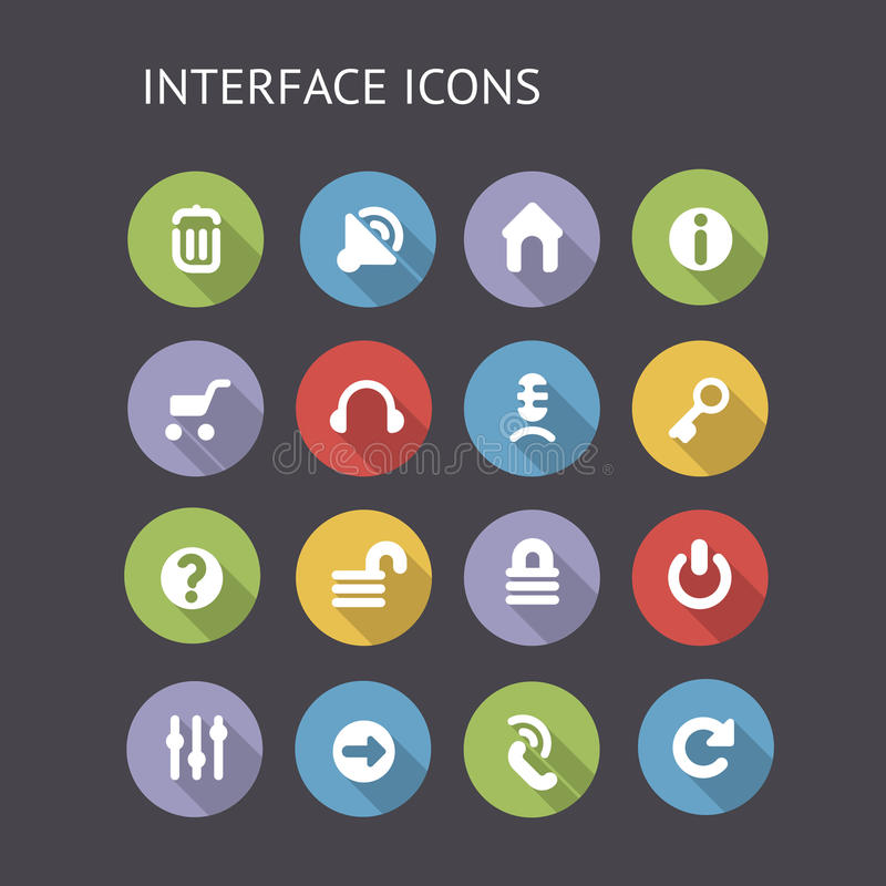 Flat Icons For Interface. Vector EPS-10 with transparency royalty free illustration
