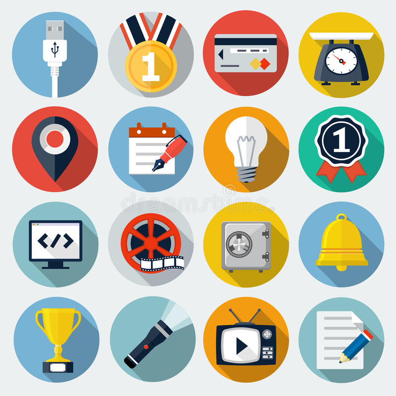 Flat Icons with long shadow stock illustration