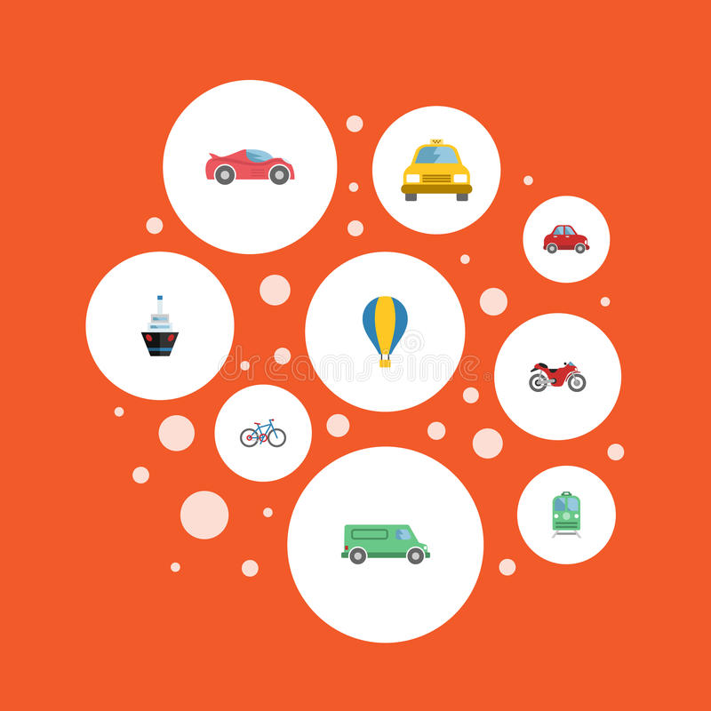 Flat Icons Luxury Auto, Cab, Car And Other Vector Elements. Set Of Transport Flat Icons Symbols Also Includes Car royalty free illustration