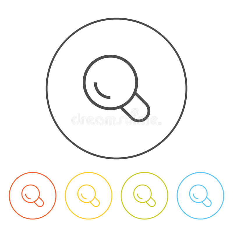 Flat icons (magnifying glass, search), vector illustration