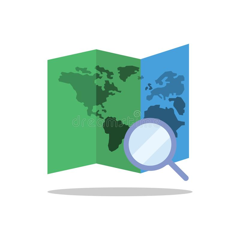 Flat icons for Map and Magnifying glass,vector illustrations royalty free illustration