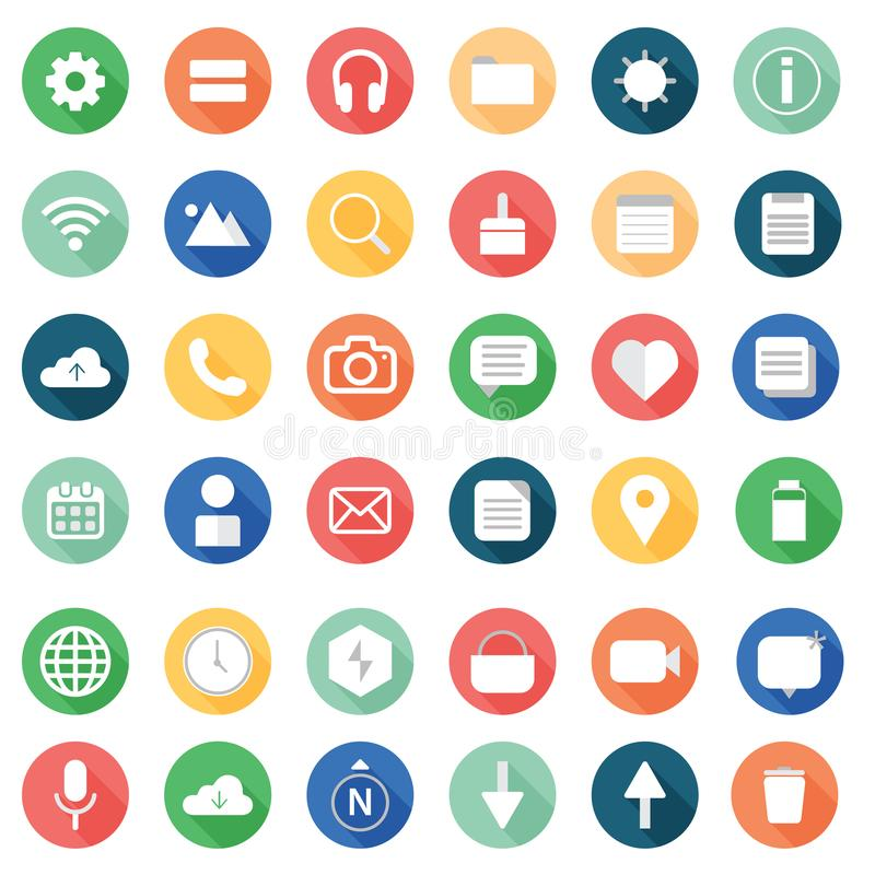 Mobile Flat Icons. With long shadow. AI file. Editable royalty free illustration