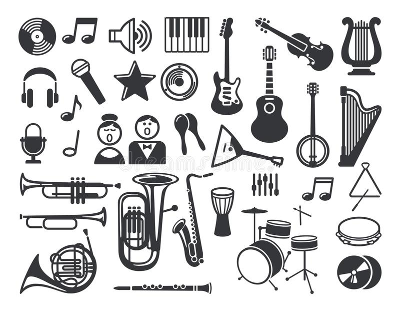 Set Of Musical Icons Stock Vector Illustration Of Acoustics 105227597