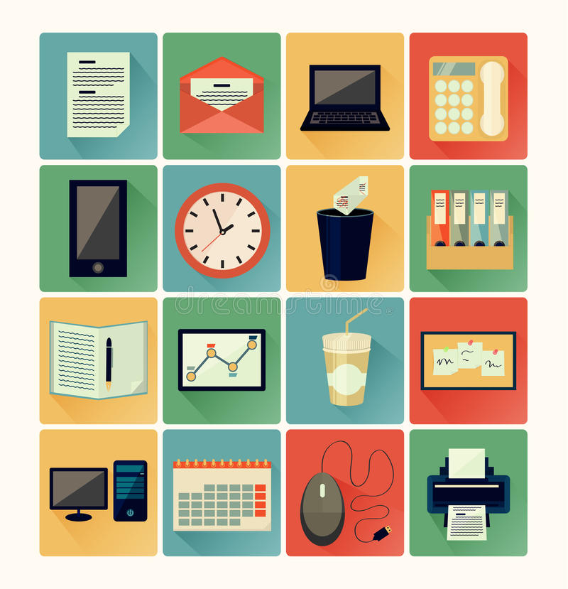 Flat icons office. Set vintage color royalty free illustration