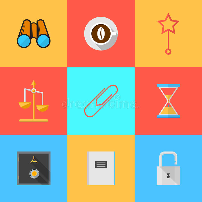 Flat Icons For Organization Of Outsourced Stock Photo Image Of
