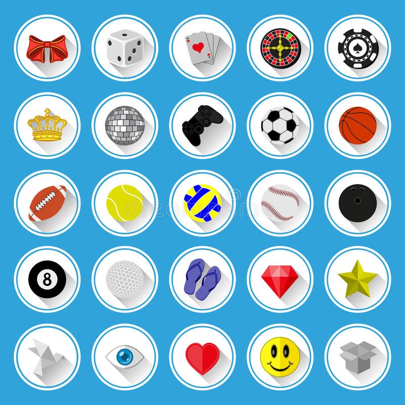 Download Flat Icons And Pictograms Set Stock Vector - Illustration of heart, bowling: 36711936