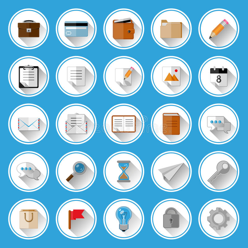Download Flat Icons And Pictograms Set Stock Vector - Image: 36711995