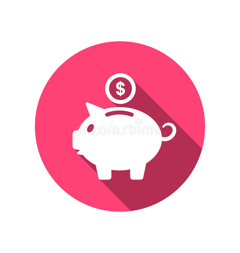 Flat icons of piggy bank concept, long shadow style stock illustration