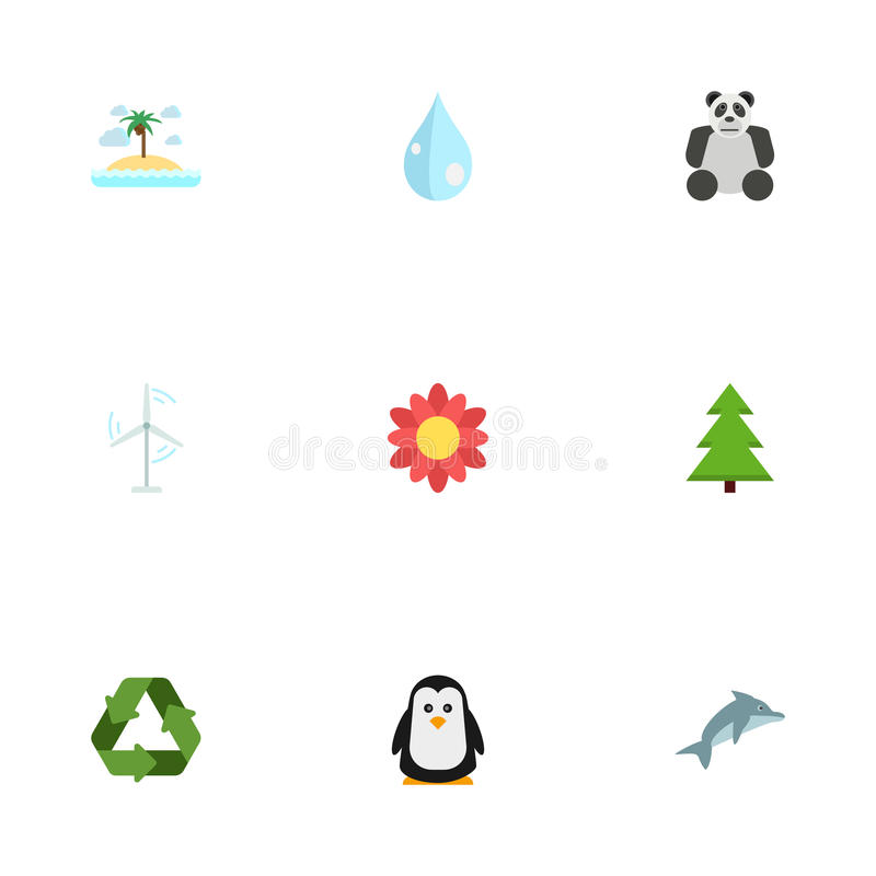 Flat Icons Playful Fish, Water, Blossom And Other Vector Elements. Set Of Green Flat Icons Symbols Also Includes Panda stock illustration