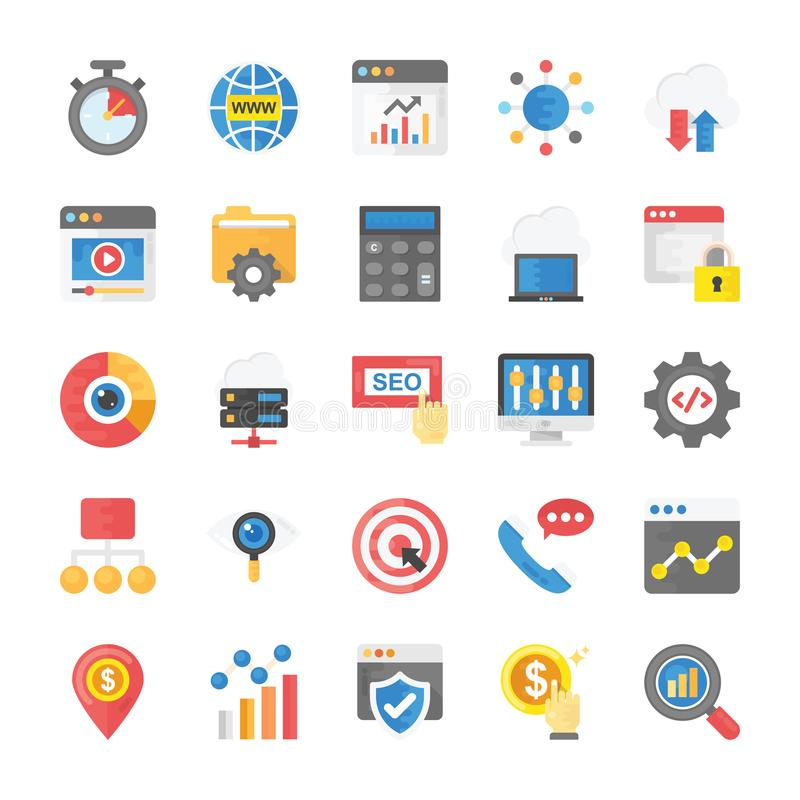 Flat Icons Seo and Marketing Pack. Creating a relevant, impressive and unique projects it is important to add visuals and graphics that would make your project stock illustration