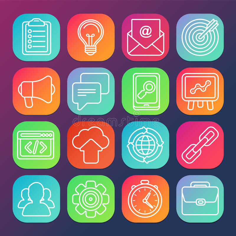 Flat icons - SEO symbols in outline style royalty free illustration